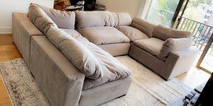 Plush couch 5 piece gray for Sale in Alexandria, VA