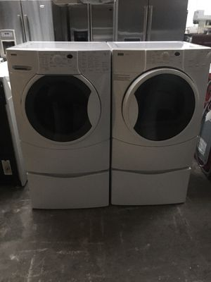 Set washer and dryer brand kenmore electric dryer everything is good working condition 90 days warranty delivery and installation for Sale in San Leandro, CA