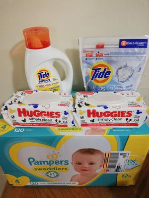 Pampers size 4, huggies wipes, tide laundry detergent for Sale in Greensboro, NC