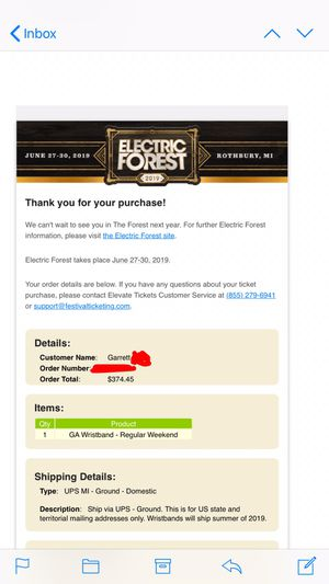 Electric Forest GA Wristband for Sale in Tempe, AZ