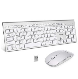 Wireless keyboard and mouse combo, double switching ergonomic system, full size silent USB, compatible with MacOS Windows 10 desktop PC (silver white for Sale in Hoboken, NJ