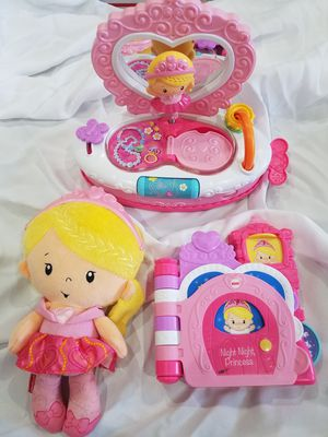 Princess toy lot girls baby toys plush mirror learning set for Sale in Margate, FL