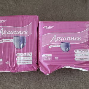 2 PACKS 16 COUNT XL ASSURANCE WOMENS UNDERWEAR for Sale in Aguanga, CA
