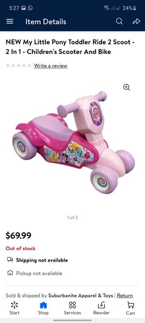 My little pony toddler ride- 2 in 1 children scoot and bike for Sale in Cumberland, RI