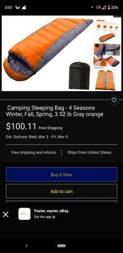 Camping Sleeping Bag - 4 Seasons Winter, Fall, Spring, 3.52 ib Gray orange for Sale in Monrovia,  CA