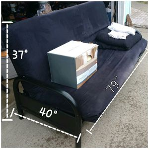 Futon - Black metal frame full sz. Extras! for Sale in Lacey, WA