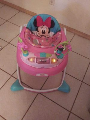 Bright Starts Disney Baby Minnie Mouse Baby Walker with Activity Station - Stars & Smiles for Sale in El Paso, TX