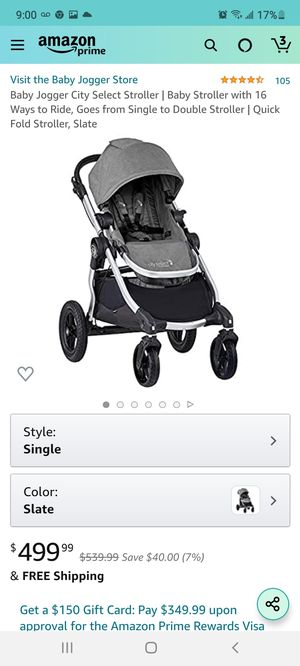 Baby Jogger City Select Stroller | Baby Stroller with 16 Ways to Ride, Goes from Single to Double Stroller | Quick Fold Stroller, Slate for Sale in Las Vegas, NV