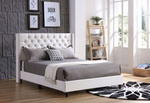 Brand new queen tufted leather bed frame $300 no mattress for Sale in Miami, FL