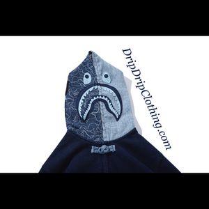 BAPE Indigo Shark Button Up Hoodie for Sale in Miami, FL