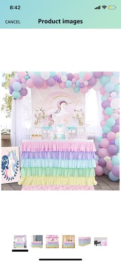 Carousel Pastel Color Table Skirt 6FT Rainbow Table Skirt for Rectangle or Round Table Chiffon Tulle Table Skirting for Party Baby Shower Wedding Birt for Sale in Fairfax,  VA