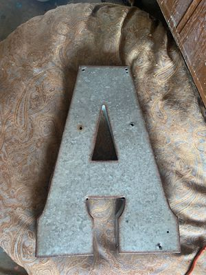 Metal letter A for Sale in Manteca, CA