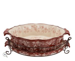 Temp-tations Floral Lace 3qt Oval Baker with Lid-it & Rack for Sale in Pompano Beach, FL