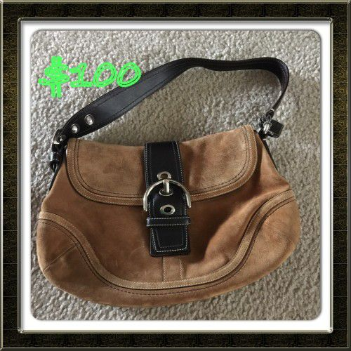 Coach brown and black soft leather hobo bag