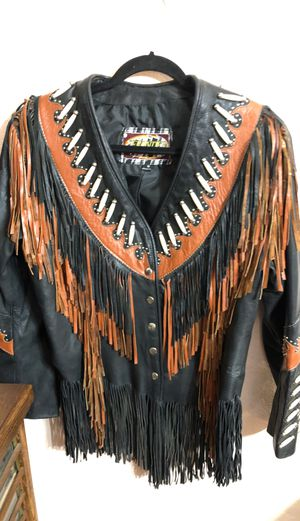 Leather fringed biker jacket never worn for Sale in Forest Grove, OR