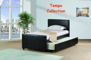NEW IN THE BOX. TWIN SIZE PLATFORM BED (FULLY SLATED) WITH TWIN TRUNDLE, BLACK, SKU# TC7526TB for Sale in Santa Ana, CA