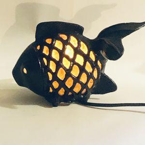 "Cast Iron Fish Night Light Lamp Amber Blown Glass 6""T X 14""W for Sale in Tenino, WA"