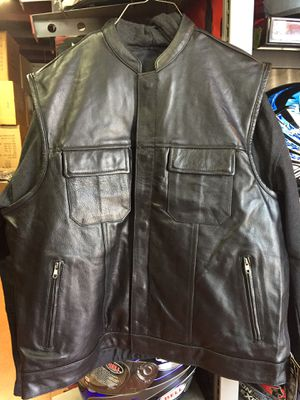 New motorcycle club style leather vest with hoodie $120 for Sale in Norwalk, CA