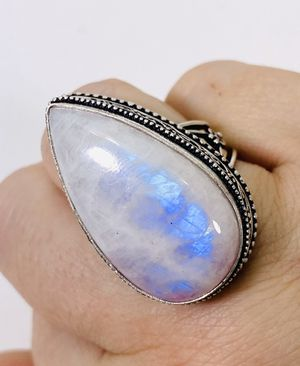Natural fiery pink large teardrop rainbow 🌈 Moonstone & .925 stamped sterling silver ring size 8 NEW! for Sale in Carrollton, TX