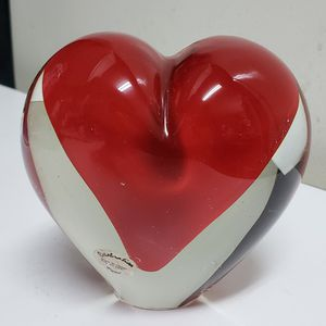 Heart-shaped Sommerso Art Glass Paperweight for Sale in Duluth, GA