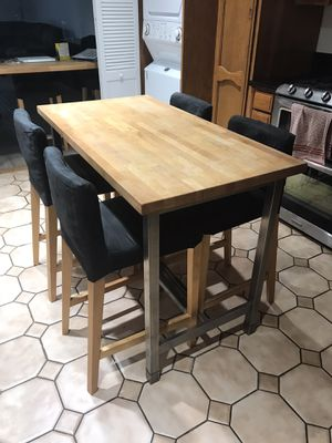 """IKEA Butcher Block Kitchen Table Island Counter Height 35"""" Tall x 26"""" Depth x 49 1/2"""" Wide With 4 IKEA Counter Height Chairs. Seat Height 26"""" for Sale in San Gabriel, CA"""