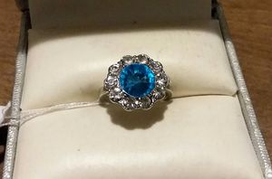 Brand New Fashion Blue CZ Flower Ring. for Sale in Providence, RI