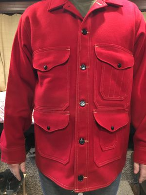 Men's large scarlet mackinaw wool coat for Sale in Marysville, WA