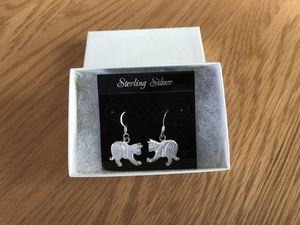 Silver cat earrings diamond cut for Sale in Sturbridge, MA