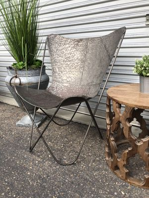 Boho beach chic Butterfly hammered metal accent chair retail $650 for Sale in San Diego, CA