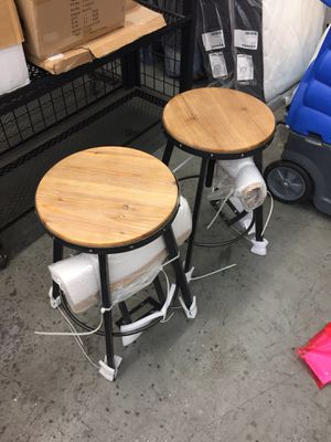 """Set of 2 26"""" Antique Black Brush Silver Counter Bar Stool Adjustable Height for Sale in Upland, CA"""