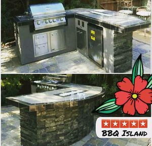 BBQ island, lion grill, fridge, and combo drawers with door, firepit for Sale in Riverside, CA