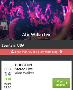 Alan Walker VIP Tkts - Houston for Sale in Houston, TX