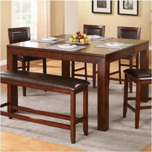 Leather and Wood Dining Set for Sale in Camp Springs, MD