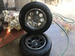 Jeep Wrangler wheels all 4 $200 with used tires can see thread on pics no scratches for Sale in Fontana, CA