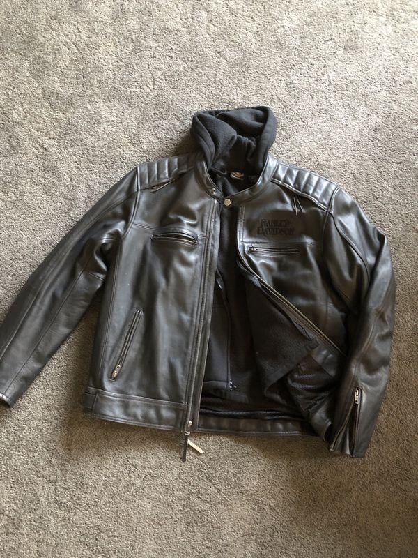 Men's XL Leather Harley Davidson Skull riding jacket
