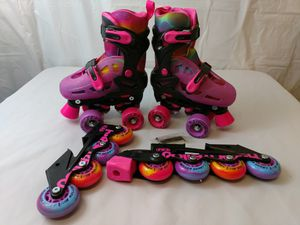 Roller Derby Hippie Inline/Quad Combo Girls size 12-2 for Sale in Jonesborough, TN