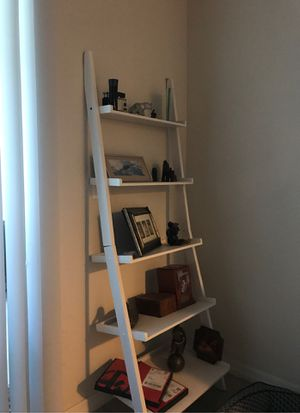 white wood ladder shelf 6feet tall by 2 feet for Sale in Palm Beach Gardens, FL