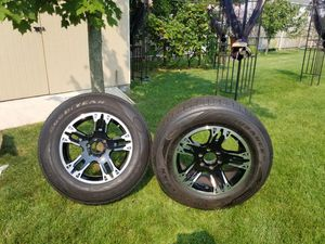 "Black aluminum 18"" rims with tires for Sale in Holland, MI"