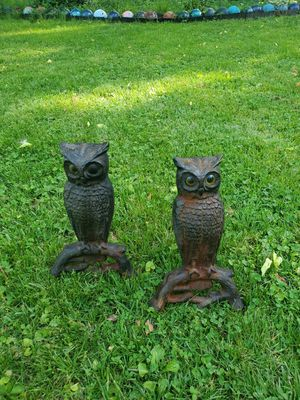 Vintage Mid Century Owl Andirons Cast Iron Farmhouse Fireplace Accessories HOWES for Sale in Cincinnati, OH