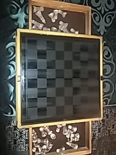 Antique chess glass set wood drawers for Sale in Columbus, OH