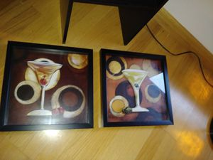Framed Martinis & shelf for Sale in Parma, OH