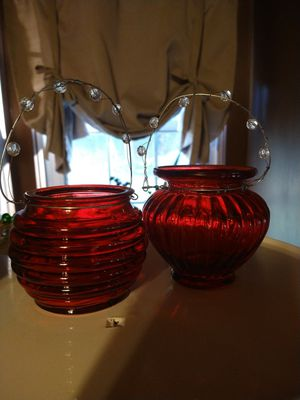 Red Glass Vases-Home Interiors for Sale in Tiverton, RI