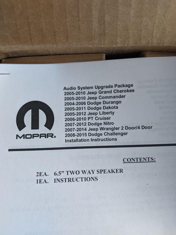 "Brand new MOPAR authentic (2)x 6.5"" 2-way speaker jeep grand cherokee commander wrangler liberty dodge durango dakota challenger nitro"