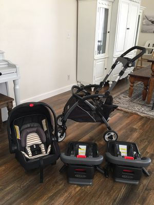 Graco car seat, stroller travel system, and two bases take it all for $150 Menifee pick up for Sale in Menifee, CA