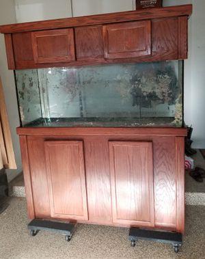 """120 Gallon Aquarium W/ Custom 38"""" Tall Cherry Oak Stand & Canopy for Sale in Naperville, IL"""