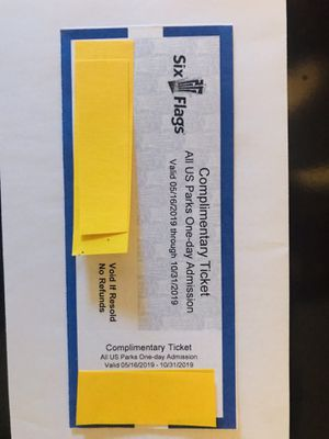 SIX FLAGS COMPLIMENTARY TICKET! ALL US PARKS ONE-DAY ADMISSION! VALID UNTILL 10/31/2019. PRICE IS $30. for Sale in Sacramento, CA