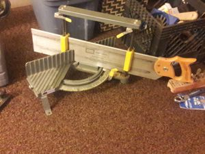 Vintage hempe sears miter box Nd craftsmans back saw collectable we tool. for Sale in Wichita, KS