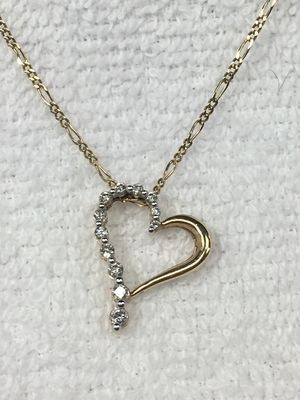 10kt. Gold heart with diamonds necklace for Sale in Arvada, CO
