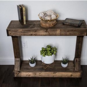 New!! Table, side table, rustic style small side table, organizer, console, storage unit, shelving display, end table , dark walnut for Sale in Phoenix, AZ