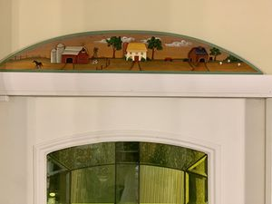 Wood Hand-painted Door Arch Cornice Folk Art Barn Horse Cow Farm for Sale in Boca Raton, FL